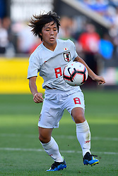 August 2, 2018 - Bridgeview, IL, U.S. - BRIDGEVIEW, IL - AUGUST 02: Japan forward Mana Iwabuchi (8) handles the ball against Australia during the 2018 Tournament Of Nations at Toyota Park on August 2, 2018 in Bridgeview, Illinois (Photo by Quinn Harris/Icon Sportswire) (Credit Image: © Quinn Harris/Icon SMI via ZUMA Press)