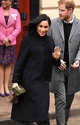 The Duke and Duchess of Sussex after their visit to the Bristol Old Vic Theatre. Picture Credit Should Read: Doug Peters/EMPICS