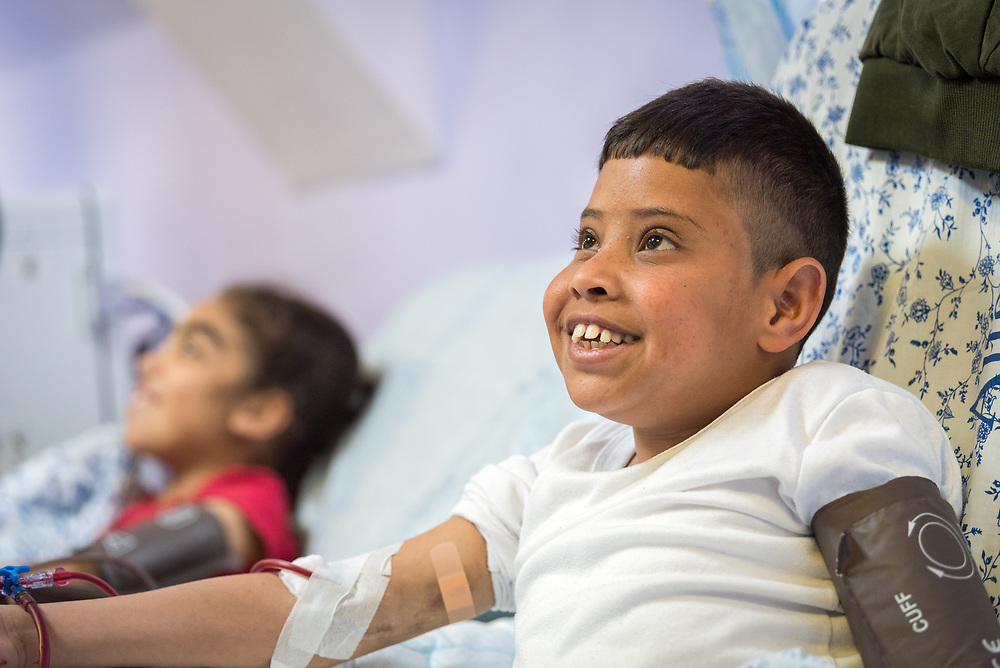 24 February 2020, Jerusalem: 16-year-old Hassan (right) and 11-year-old Amani (left) come to the Augusta Victoria Hospital three times per week for Dialysis. The procedure takes four hours each time.