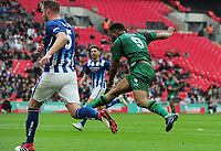 Football - 2019 Buildbase FA Vase Final - Chertsey Town vs. Cray Valley Paper Mills<br /> <br /> Gavin Tomlin of Cray cuts inside Michael Peacock, to score the opening goal, at Wembley Stadium.<br /> <br /> COLORSPORT/ANDREW COWIE