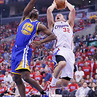 21 April 2014: Los Angeles Clippers forward Blake Griffin (32) takes a jump shot over Golden State Warriors forward Harrison Barnes (40) during the Los Angeles Clippers 138-98 victory over the Golden State Warriors, during Game Two of the Western Conference Quarterfinals of the NBA Playoffs, at the Staples Center, Los Angeles, California, USA.
