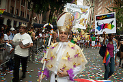 A marcher costumed as a bishop, representing Translatina, a support group for transgendred Latinos, in the 2011 Pride Parade in New York's West Village.