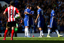 Willian hugs Chelsea Captain John Terry who is substituted on the 26th minute of the game to mark his retirement after a long Chelsea career in the 26 shirt - Rogan Thomson/JMP - 21/05/2017 - FOOTBALL - Stamford Bridge - London, England - Chelsea v Sunderland - Premier League..