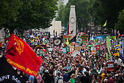 The assembly spills over into Whitehall. The anti-austerity march, the People's Assembly saw tens of thousands marching and protestin in the streets of London against the newly elected conservative government.