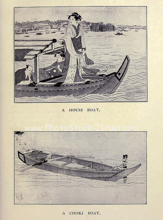 A house boat and a Chonki boat From the book ' The story of the geisha girl ' by Taizo Fujimoto, Published in London by T. Werner Laurie