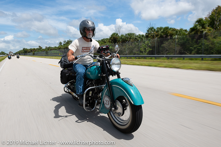 Joe Ferri riding his restored 1947 Indian Chief in the Cross Country Chase motorcycle endurance run from Sault Sainte Marie, MI to Key West, FL. (for vintage bikes from 1930-1948). Stage-9 covered 259 miles from Lakeland, FL to Miami, FL USA. Saturday, September 14, 2019. Photography ©2019 Michael Lichter.