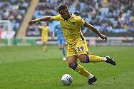 Bristol Rovers forward Johnson Clarke-Harris (19) gets in a cross during the EFL Sky Bet League 1 match between Coventry City and Bristol Rovers at the Ricoh Arena, Coventry, England on 7 April 2019.