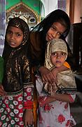 Moslem girls pilgrimage to the sacred Ajmer Sharif or Dargah Sharif, a sufi shrine (dargah) of the revered sufi saint, Moinuddin Chishti. Ajmer, Rajasthan.