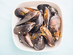 Bowl of fresh mussels, Getxo, Algorta, Basque Country, Biscay, Spain, Europe