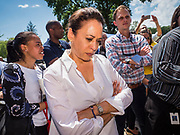 03 JULY 2019 - WEST DES MOINES, IOWA: US Senator KAMALA HARRIS (D-CA) waits to speak at the West Des Moines Democrats' annual 4th of July Picnic. Senator Harris attended the picnic to support her bid to be the Democratic nominee for the US presidency in 2020. Iowa hosts the first presidential selection event of the 2020 election cycle. The Iowa Caucuses are scheduled for Feb. 3, 2020.        PHOTO BY JACK KURTZ