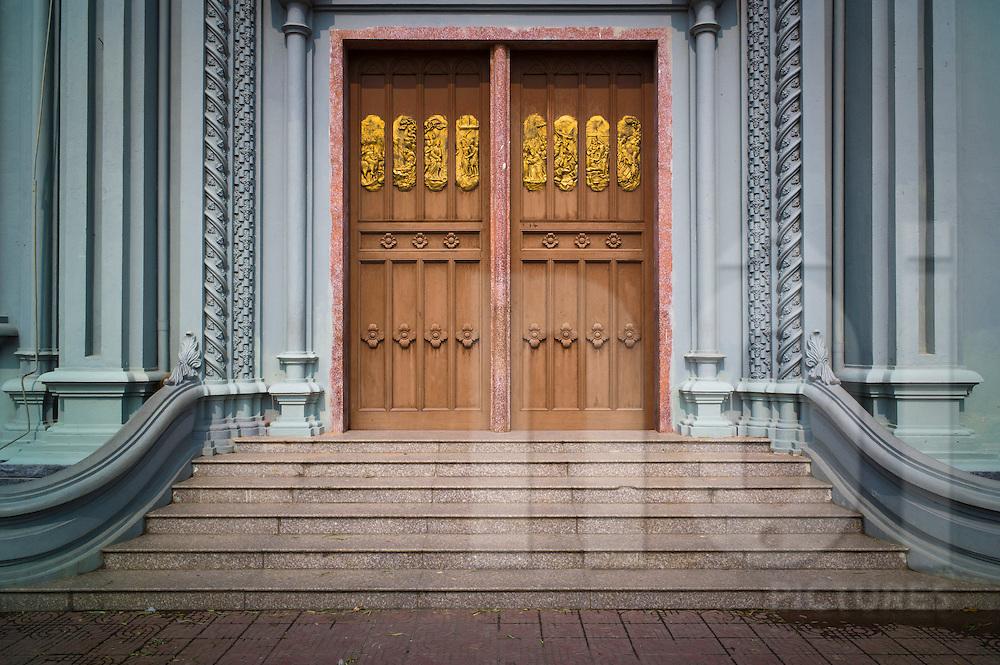 Ornate doors of Kien Lao Cathedral, Kien Lao Village, Xuan Tien Commune, Xuan Truong District<br /> , Nam Dinh Province, Vietnam, Southeast Asia