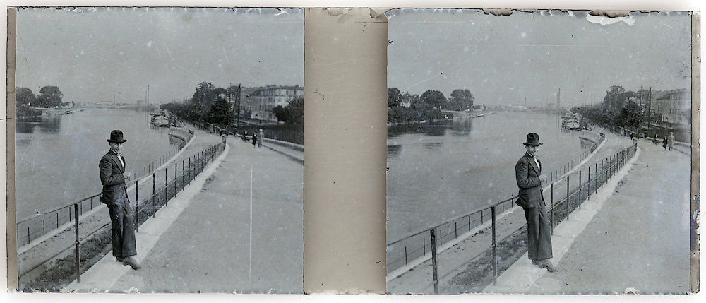 stereo image of man with river landscape scenic view