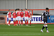 Goal 2 - 0   Cheltenham celebrate Andy Williams' goal in the 48th minute during the EFL Sky Bet League 2 match between Cheltenham Town and Crawley Town at Jonny Rocks Stadium, Cheltenham, England on 10 October 2020.