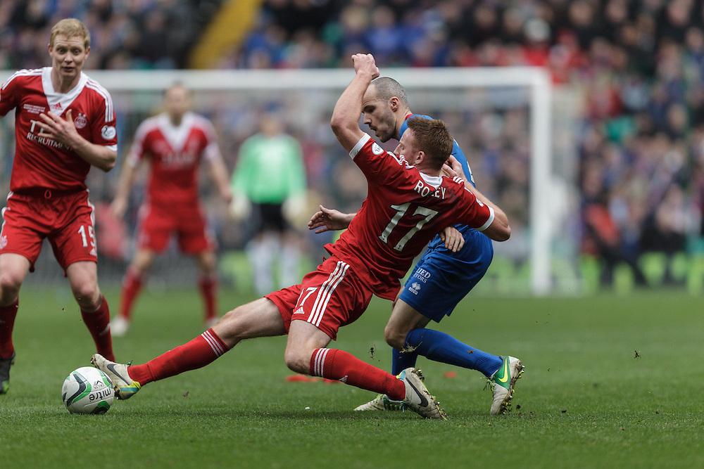 Scottish League Cup Final Aberdeen V Inverness CT at Parkhead on Sunday, 16th of March 2014, Aberdeen Scotland.<br /> Pictured: Adam Rooney and David Raven<br /> (Photo Ross Johnston/Newsline Scotland)