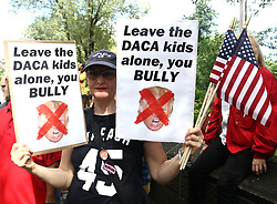 September 9, 2017 - New York, New York, U.S. - A New Yorker protests Trump's end to DACA, 'Deferred Action for Childhood Arrival' at Columbus Circle. (Credit Image: © Nancy Kaszerman via ZUMA Wire)