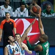 Panathinaikos's Mike Batiste (R) during their Euroleague Top 16 week 3 game 3 basketball match Fenerbahce Ulker between Panathinaikos at Fenerbahce Ulker Sports Arena in Istanbul Turkey on Thursday 02 February 2012. Photo by TURKPIX