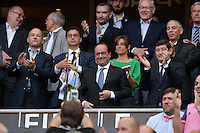 Maxime Saada / Francois HOLLANDE / Nathalie IANNETTA / Patrick KANNER  - 13.06.2015 - Clermont / Stade Francais - Finale Top 14<br />