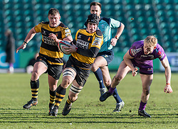 Newports' Kyle Tayler brakes away and charges towards the line.<br /> <br /> Photographer Simon Latham/Replay Images<br /> <br /> Principality Premiership - Newport v Ebbw Vale - Sunday 4th February 2018 - Rodney Parade - Newport<br /> <br /> World Copyright © Replay Images . All rights reserved. info@replayimages.co.uk - http://replayimages.co.uk