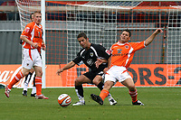 Photo: Paul Greenwood.<br />Blackpool v Bristol City. Coca Cola Championship. 18/08/2007.<br />Blackpool's Wes Hoolahahn, (R) looses out to Alex Russell