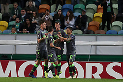December 13, 2018 - Lisbon, Portugal - Sporting's forward Fredy Montero from Colombia celebrates with teammates after scoring during the UEFA Europa League Group E football match Sporting CP vs FC Vorskla Poltava at Alvalade stadium in Lisbon, Portugal on December 13, 2018  (Credit Image: © Pedro Fiuza/NurPhoto via ZUMA Press)