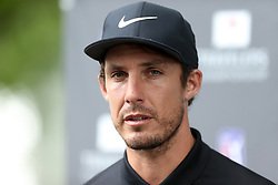 June 23, 2018 - Cromwell, Connecticut, United States - Jamie Lovemark speaks to the media after the third round of the Travelers Championship at TPC River Highlands. (Credit Image: © Debby Wong via ZUMA Wire)