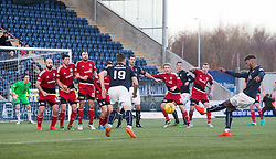 Falkirk's Myles Hippolyte's free kick shot. Falkirk 1 v 1 Ayr United, Scottish Championship game played 14/1/2017at The Falkirk Stadium .