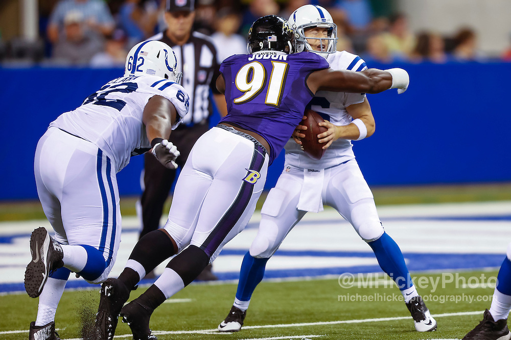 INDIANAPOLIS, IN - AUGUST 20: Matt Judon #91 of the Baltimore Ravens makes the sack on Scott Tolzien #16 of the Indianapolis Colts at Lucas Oil Stadium on August 20, 2016 in Indianapolis, Indiana.  (Photo by Michael Hickey/Getty Images) *** Local Caption *** Matt Judon; Scott Tolzien