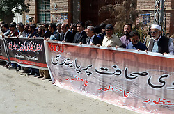 October 10, 2018 - Pakistan - QUETTA, PAKISTAN, OCT 09: Members of Joint Media Action Committee are holding protest .demonstration for acceptance of their demands, at Quetta press club on Tuesday, October 09, .2018. (Credit Image: © PPI via ZUMA Wire)