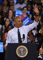 November 3, 2016 - Miami, FL, United States - President Barack Obama speaks at a campaign rally in support of Democratic presidential candidate Hillary Clinton at Florida International University on November 3, 2016 in Miami, Florida  (Credit Image: © Solar/Ace Pictures via ZUMA Press)