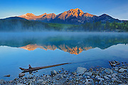 sunrise on Pyramid Mountain at Patricia Lake<br /> Jasper National Park<br /> Alberta<br /> Canada