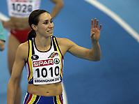 Photo: Rich Eaton.<br /> <br /> EAA European Athletics Indoor Championships, Birmingham 2007. 04/03/2007. Kim Gavaert of Belgium celebrates gold in the womens 60m final