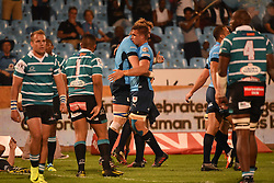 Hanro Liebenberg is congratulated after scoring a try during the Currie Cup Premier Division match between the Blue Bulls and The Griquas held at Loftus Versfeld stadium, Pretoria, South Africa on the 16th September 2016<br /> <br /> Photo by:   Real Time Images