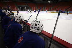 Hockey players at practice of Slovenian national team before Hockey IIHF WC 2008 in Halifax,  on May 01, 2008 in Metro Center, Halifax, Canada.  (Photo by Vid Ponikvar / Sportal Images)