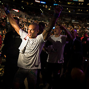 Sheymon Moraes exits to cheers after defeating Matt Sayles in a featherweight bout at UFC 227 held at the Staples Center in Los Angeles on August 4, 2018. Photo by Todd Bigelow for ESPN.