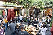 UpWest Labs host their evening mixer at Pizzeria Delfina in Palo Alto, California, on September 19, 2019. (Stan Olszewski/SOSKIphoto)