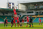 Sale Sharks lock Jon-Luc Du Preez collects a line-out  during the Gallagher Premiership Rugby match Northampton Saints -V- Sale Sharks at Franklin's Gardens, Northamptonshire ,England United Kingdom, Tuesday, September 29, 2020. (Steve Flynn/Image of Sport)