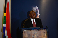 JOHANNESBURG, Dec. 5, 2016 (Xinhua) -- South African Vice President Cyril Ramaphosa speaks during an event commemorating the third anniversary of former South African president Nelson Mandela's death in Johannesburg, South Africa, on Dec. 5, 2016.?South Africans on Monday marked the 3rd anniversary of former president Nelson Mandela's death, vowing to honour his legacy by upholding his values and principles. (Xinhua/Zhai Jianlan) (Credit Image: © Xinhua via ZUMA Wire)