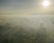 Morning air pollution in downtwon Ulan Bator.<br /> Mongolia