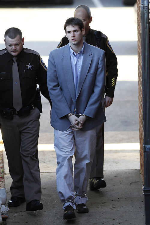 CHARLOTTESVILLE, VA - FEBRUARY 15: George Huguely is escorted to court as his trial in the death of former girlfriend Yeardley Love continues in Charlottesville, VA. Huguely was charged in the May 2010 death of his girlfriend Yeardley Love. She was a member of the Virginia women's lacrosse team. Huguely pleaded not guilty to first-degree murder. (Credit Image: © Andrew Shurtleff