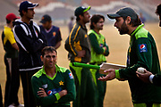 Pakistan National Cricket inside Gaddafi Stadium, Lahore during a week long training camp period prior to the 2011 ICC World Cricket Cup. Seen here captain  Shahid Afridi giving instructions to team mates.