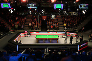 a General view of match as Kyren Wilson (Eng) plays a shot . Ding Junhui (Chn) v Kyren Wilson (Eng),  1st round match at the Dafabet Masters Snooker 2017, day 1 at Alexandra Palace in London on Sunday 15th January 2017.<br /> pic by John Patrick Fletcher, Andrew Orchard sports photography.