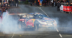 Sebastien Ogier celebrates winning the World Championship with a doughnut in the M-Sport WRT Ford Fiesta WRC  during day four of the Dayinsure Wales Rally GB. PRESS ASSOCIATION Photo. Picture date: Sunday October 29, 2017. Photo credit should read: David Davies/PA Wire