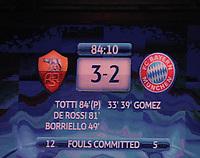 FOOTBALL - UEFA CHAMPIONS LEAGUE 2010/2011 - GROUP STAGE - GROUP E - AS ROMA v BAYERN MUNCHEN - 23/11/2010 - PHOTO FABIO BOZZANI / PENTASPORTS / DPPI - SCOREBOARD
