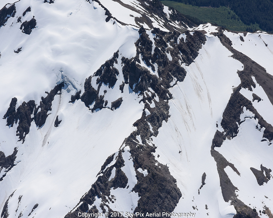Snowpack on a mountainside in the Olympics.