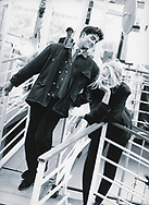 Supermodel Claudia Schiffer and Raffael Edholm for Vogue Hommes GQ circa 1990. Shot in Paris, France. Photographer © Amyn Nasser. All Rights Reserved.