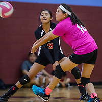 St Michaels Cardinals Rylena Nez (16) and Sydney Terry (9) bump back a serve from the Ganado Hornets during the championship of the Rehoboth Tournament Saturday at Rehoboth High School.