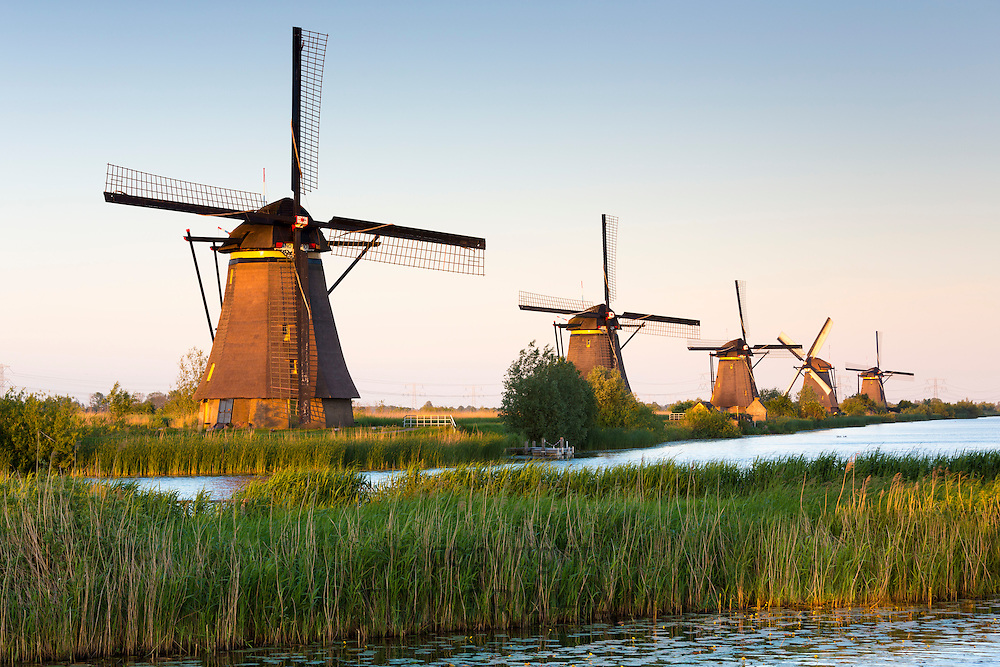 Group of authentic windmills at Kinderdijk UNESCO World Heritage Site, polder and dyke, Holland, The Netherlands