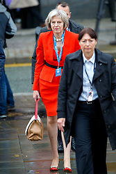 © Licensed to London News Pictures. 07/10/2015. Manchester, UK. Home Secretary THERESA MAY arriving Conservative Party Conference at Manchester Central convention centre on Wednesday, 7 October 2015. Photo credit: Tolga Akmen/LNP