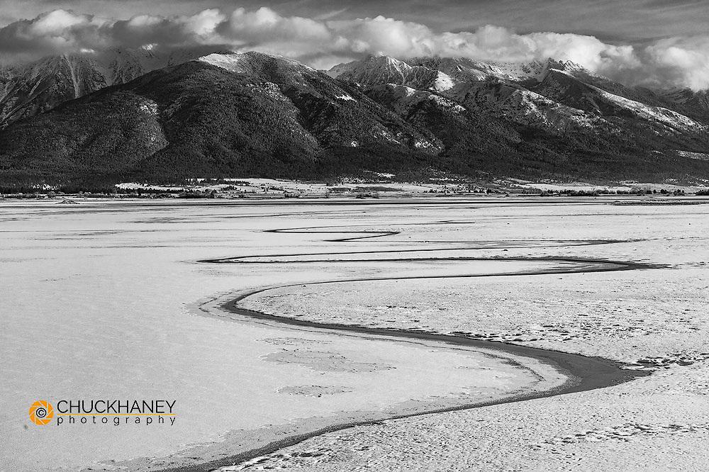 Wetlands pond in winter at Ninepipe WMA near Ronan, Montana, USA