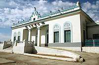 Naushki Railway Station on the Trans-Mongolian, Trans-Siberian Railway which follows a somewhat Georgian architectural style which reflects Mongolia's long dependance on Russia especially with regards to things like railways and modern technology.